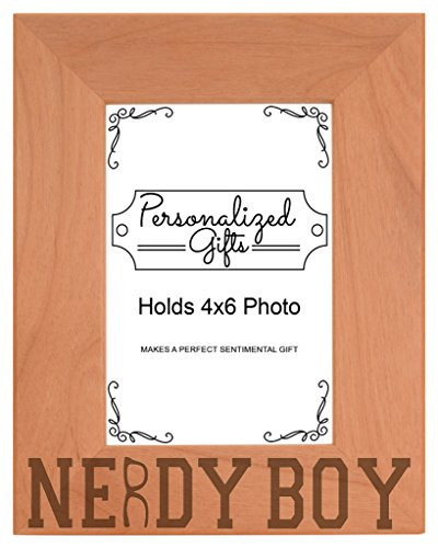 Nerd Gift Nerdy Boy Glasses Science Math Geek Natural Wood Engraved 4x6 Portrait Picture Frame - Nerdy Of Glasses Pictures