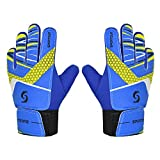 Sportout Kids Goalkeeper Gloves, Soccer Gloves with Double Wrist Protection and Non-Slip Wear Resistant Latex Material to Give Splendid Protection to Prevent Injuries (Blue, 5)