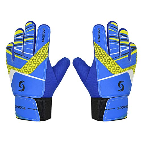 Sportout Kids Goalkeeper Gloves, Soccer Gloves with Double Wrist Protection and Non-Slip Wear Resistant Latex Material to Give Splendid Protection to Prevent Injuries (Blue, 6)
