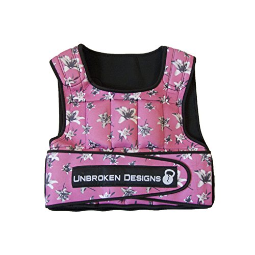 Adjustable Weighted Vest for Fitness Workouts for Men/Women - Adjustable, Light Weight Vest, Weight Training Jacket, Neoprene Vest Shell - Deep Pink Floral Design, 20lb Weight Vest by Unbroken Designs