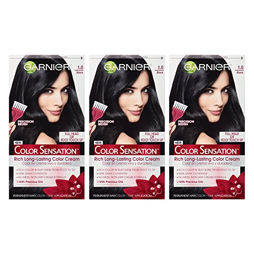 Permanent Hair Coloring Cream (Garnier Color Sensation Hair Color Cream, 1.0 In the Black (Black), 3 Count (Packaging May Vary))