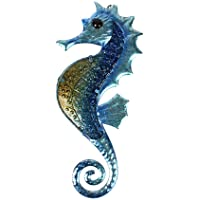 Liffy Gift Metal with Glass Handmade Seahorse Design Wall Decor for Home, Patio, Porch, Bathroom