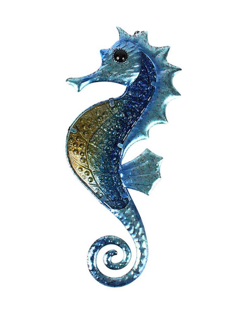 Liffy Metal Seahorse Wall Decor Outdoor Sea Art Hanging Decorative Glass Sculpture Blue