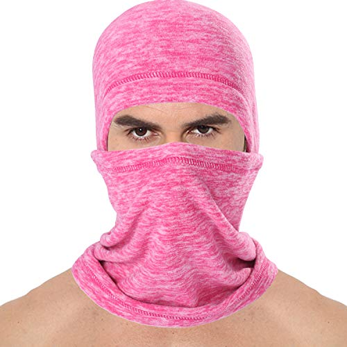 JIUSY 1 Pack - Thick Fleece Balaclava Neck Warmer Hood Cover Face Mask Windproof Wind Dust Protection for Ski Snowboard Hunting Hiking Walker Camping Cycling Cold Weather Winter Gear Rose Red