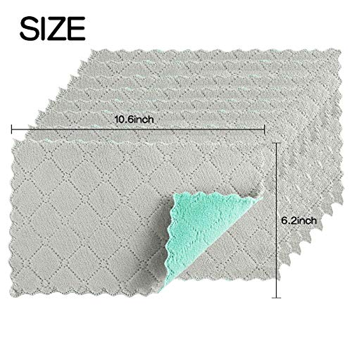 LOKiVE 21 Pcs Microfiber Towel for Kitchen,11 x 6 inches Double-Sided Kitchen Towels Microfiber Cleaning Cloth Towel for Kitchen Cleaning Glass,Kitchens,Bathrooms,Cars(Grey & Green)