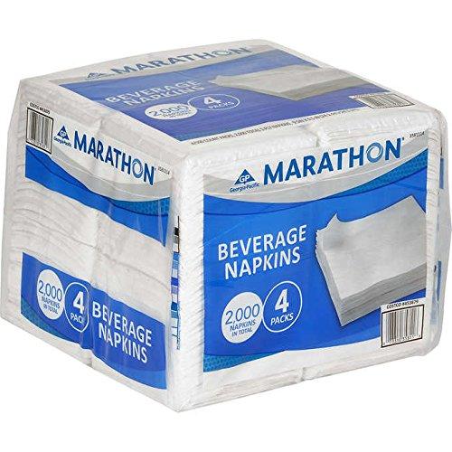 - Marathon Beverage/Cocktail Paper Party Napkins, 1-Ply, White: (2000-count)