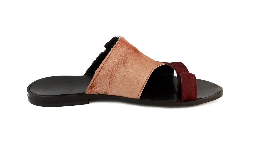 Roberto Guerrini Mens beige and burgundy pony sandal, Size 46 by Roberto Guerrini