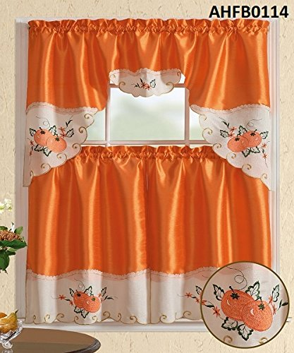 Comfy Deal 3 Pieces Off White and Orange Embroidery Kitchen/Cafe Curtain Tier and Swag Set (Orange Tangerine) (Kitchen Curtains Fall)