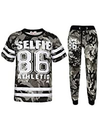 Boys Top Kids Designer's #Selfie 86 Camouflage T Shirt & Trouser Set 7-13 Years