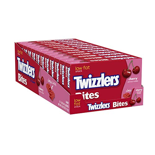 TWIZZLERS Licorice Candy, Cherry, Bites, 5 Ounce (Pack of 12)