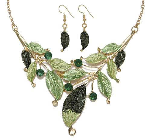 Leaf Necklace Earring Set (GINKAY Bohemian Leaves Charming Necklace Earrings Set Green Spring)