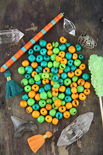 Citrus Mix: Real, Natural Acai Beads, South American Eco-Beads, 10mm, 100 Beads, Bright Spring Teal, Orange, Green, Jewelry Making Supplies #WSW_9337