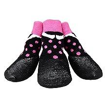 abcGoodefg® Pet Dog Puppy Socks Shoes Boots, Outdoor, Waterproof, Nonslip, Rubber Sole+Velcro Strips, Comfortable Design (#4, Black+Pink Spot)