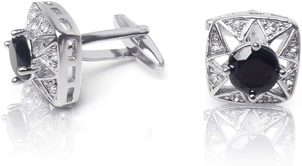 colore: nero e argento confezione regalo Gemelli da uomo con bordo rotondo quadrato in cristallo Winston 1874