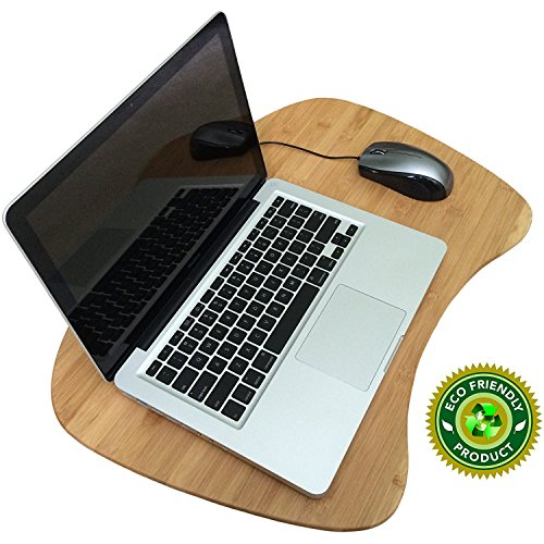 Bamboo Lap Desk for Laptop, Large Protable Laptop Desk Tray with Cushion Pilliow and Handle, Suitable as LapDesk Stand, Bed Tray, Book Stand, Writing Table - Pezin & Hulin by Pezin & Hulin
