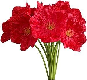AntranStore 20Pcs Red Poppies Artificial Flowers for Home Kitchen Wedding Decor DIY Floral Arrangements Bouquets