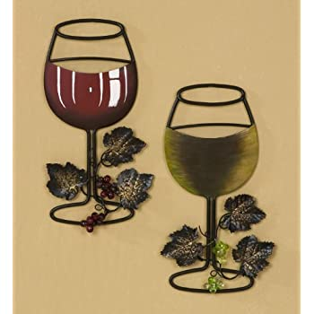 Perfect Tripar Wall Metal Wine Art   Red Wine / White Wine Glass Set Of 2