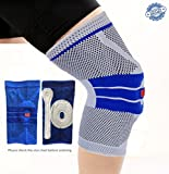 Ultimate Knee Compression Brace Sleeve For Sports – 3D Knitted Breathable Silica Gel Anti-collision Support Pad For All Athletes, Recovery From ACL, Meniscus & Arthritis Injuries (Large, Blue)