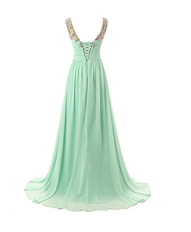 HelloGirls O-Neck Rhinestones Embellished Evening Prom Bridesmaid Dress