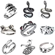 SUNNYOUTH 9 Pcs Frog Rings Cute Animal Open Ring Retro Vintage Snake Rings Set Statement Biker Punk Rings for
