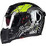 Leoie Full Face Helmet for Men, Flip-up Dual Lenses Antifogging Motorcycle Motorbike Riding Safety Helmet Balck Green XXL