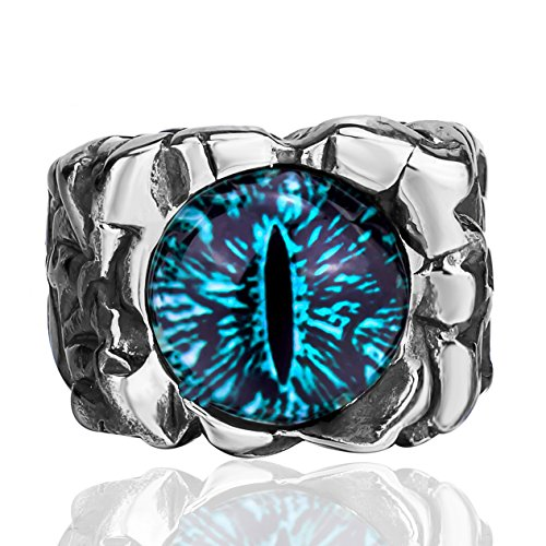 Elfasio Men Stainless Steel Rings Hellfire The Devils Eye Blue Gothic Rock Biker Jewelry Size 8-13