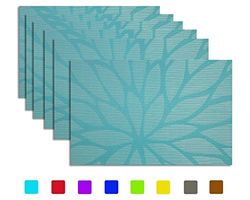 Placemats set of 6, Tennove Woven Vinyl Table Mats PVC Placemats for Kitchen Dining Table Decoration (Flower-A) (Flower Soft Christmas Toppers)