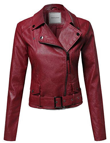 Classic Belted Biker Jacket Burgundy XL Size (Belted Leather Jeans)