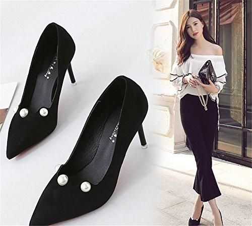 junkai Ladies Women Suede Court Shoes - Mid High Heel Wide Fit Slip On Pointed Toe Smart Party Office Work Stiletto Shoes Pumps 6cm Black IhaGu