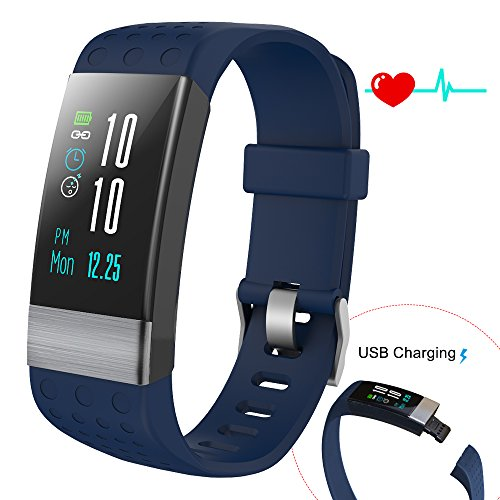COSVII Fitness Tracker Large Color Screen, IP67 Waterproof Smart Bracelet Heart Rate Monitor, Sleep Monitor, Blood Pressure Monitor,Pedometer, Calorie Tracker, Call Reminder& SMS Push (Blue)