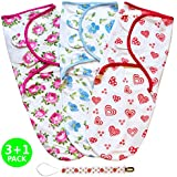 Swaddle Blanket Baby Wrap Set for Newborn or Infant up to 3 Months by Mama Cheetah | 3 Pack with Bonus Pacifier Clip | Flowers & Hearts