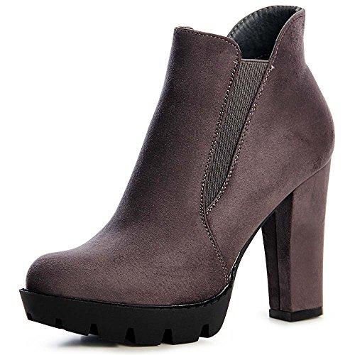 topschuhe24 959 Damen Plateau Stiefeletten Ankle Boots Grau