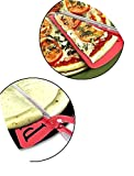 Pizza Scissors with 2 in 1 Slicer Cutter Server Tray Food Serving Tool Kitchen Gadget Red