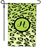 Rikki Knight Letter H Initial Lime Green Leopard Print Monogram Decorative House or Garden Flag, 12 by 18-Inch
