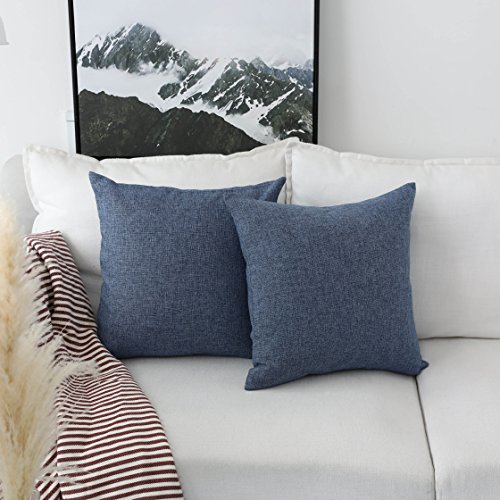 HOME BRILLIANT Burlap Linen Throw Pillow Covers Decorative Cushion Covers, 18x18 inch(45cm), Set of 2, Navy Blue -