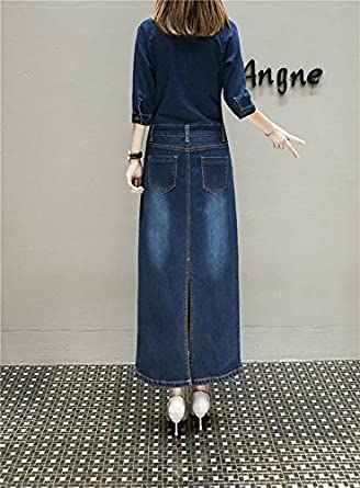 6e250e586c1 TOPJIN Women s Plus Size Long Sleeve One Piece Denim Overall Dresses Long  Jeans Dresses at Amazon Women s Clothing store
