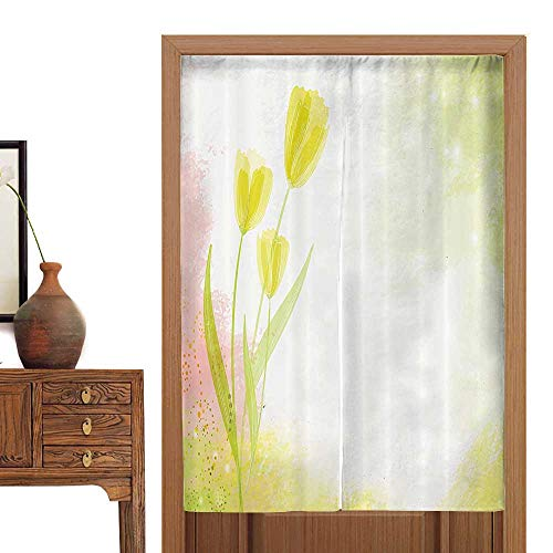 """vanfan Linen Cotton Door Curtain Watercolors Background with Soft Pure Pastel Te Effects Heralds of Spring Doorway Curtain Tapestry36 W x 66.9"""" L"""