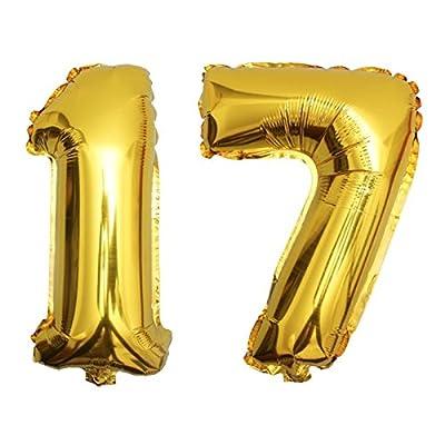 DekoRex® foil ballon anniversaire décoration pour l'air 80cm de haut or nombre: 17