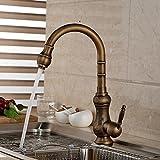 Rozinsanitary Deck Mount Kitchen Faucet Antique Brass Sink Mixer Tap Flower Carved Faucet Body