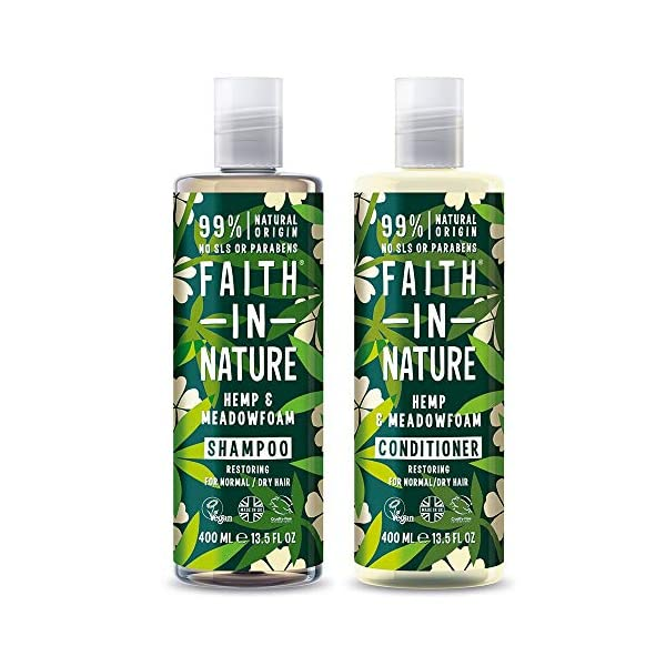 Faith in Nature Natural Hemp & Medowfoam Shampoo & Conditioner Set, Restoring Vegan & Cruelty Free, Parabens and SLS Free, for Normal to Dry Hair, 2 x 400ml