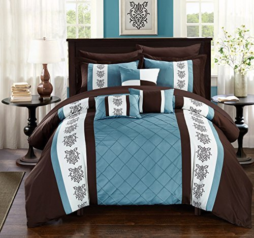 Chic Home Clayton 10 Piece Comforter Set Pintuck Pieced Block Embroidery Bed in a Bag with Sheet Set, Queen Blue Brown