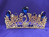 Sapphire Royal Blue Princess Swan Crystal Rhinestone Rose Gold Tiara crown CT48