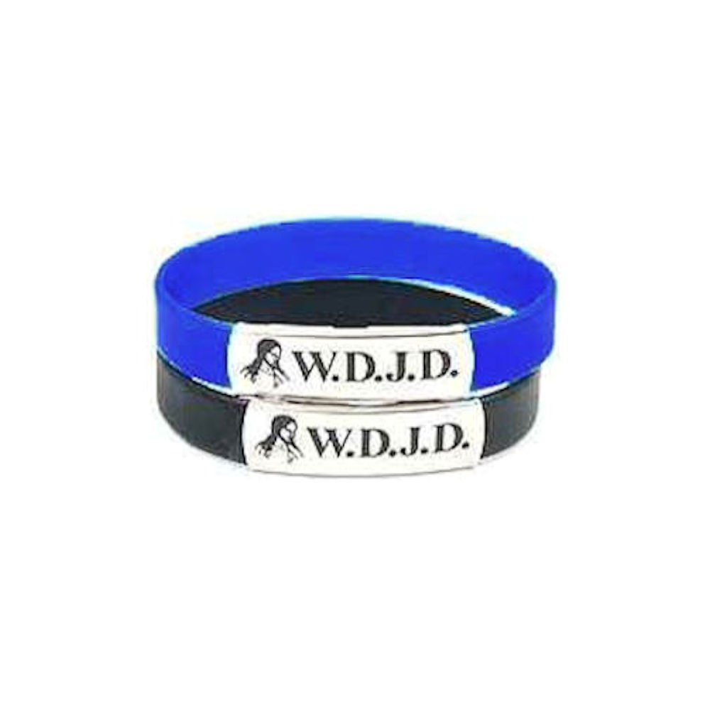W.D.J.D. What Did Jesus Do? Black and Blue Silicone Bracelet w/Metal (pkg of 10)