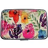 Aluminum Wallet RFID Blocking Metal Credit Card Holder Slim Hard Case (Stylized Watercolor Flowers)