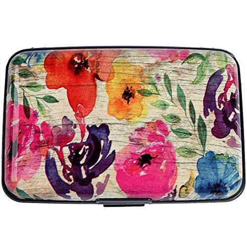 Blocking Metal Credit Card Holder Slim Hard Case (Stylized Watercolor Flowers) ()