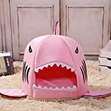 Shark Bed for Small Cat Dog Cave Bed Removable Cushion,waterproof Bottom Most Lovely Pet House Gift for Pet ... (M, Pink)