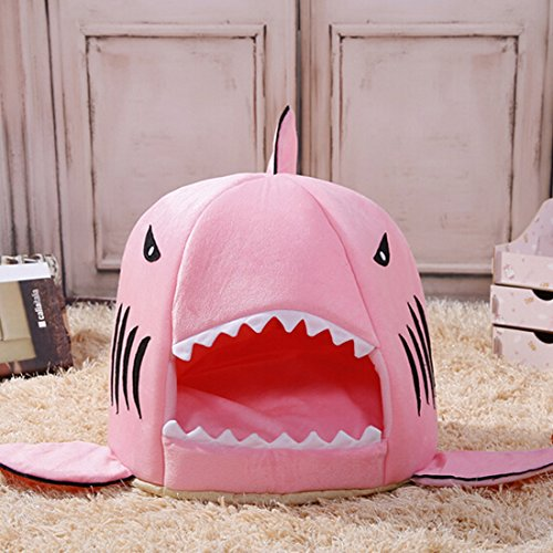 HOPES KINGDOM Shark Bed for Small Cat Dog Cave Bed Removable Cushion,waterproof Bottom Most Lovely Pet House Gift for Pet (M, Pink) Review