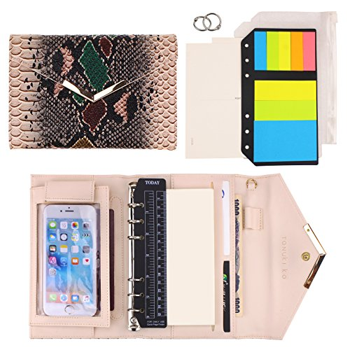 (SynLiZy A6 PU Leather Personal Organizer Undated Planner Set of 12 Accessories Brown Serpentine)