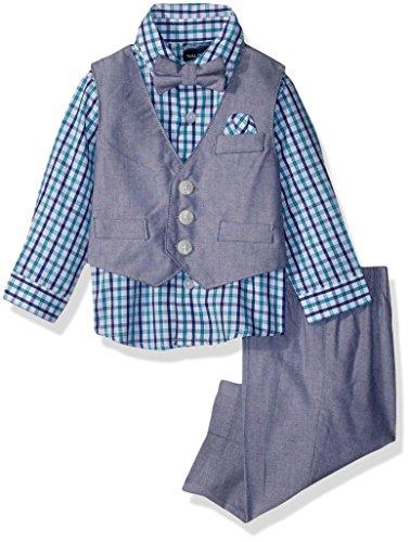 Nautica Boys' Baby 4-Piece Formal Dresswear Vest Set with Bow Tie, Dark Cobalt Oxford, 24 Months