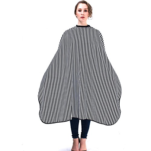 Mythus Elegant Strip Design Hair Cape Hairdresser Gown Cape For Salon Haircut, Antistatic